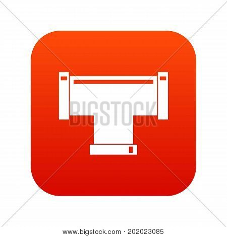 T pipe connection icon digital red for any design isolated on white vector illustration