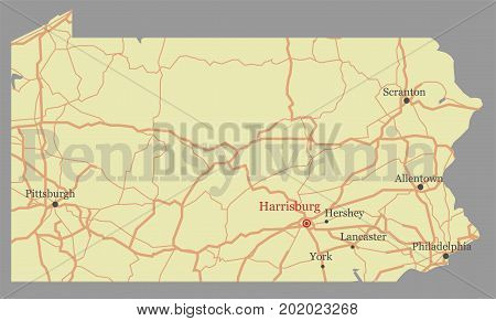 Pennsylvania vector accurate high detailed State Map with Community Assistance and Activates Icons Original pastel Illustration