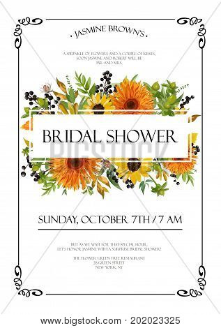 Bridal shower autumn vector Invitation card design with orange yellow sunflower gerbera flowers fall leaves thistle berries green leaf herb mix text copy space floral background frame. Cute Invite