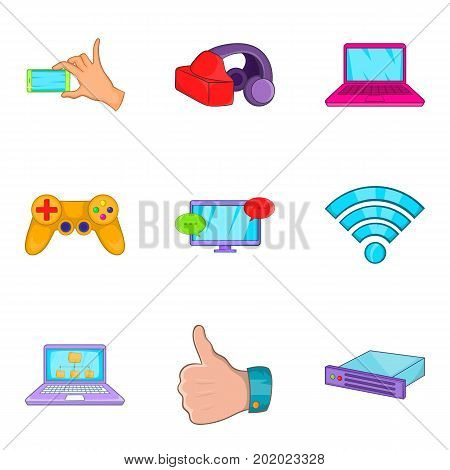 Compact equipment icons set. Cartoon set of 9 compact equipment vector icons for web isolated on white background