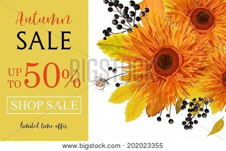 Autumn season sale vector banner background with orange gerbera flowers forest colorful fall yellow leaves seasonal herb black berry mix Elegant Illustration template design Flyer poster visit card