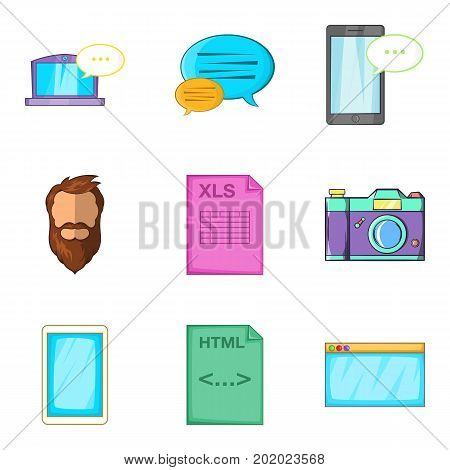Screenshot icons set. Cartoon set of 9 screenshot vector icons for web isolated on white background