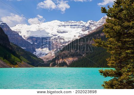 Beautiful close up view of Lake Louise in Banff National Park in the Rocky Mountains Alberta Canada