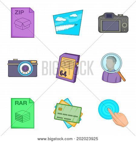 Compression icons set. Cartoon set of 9 compression vector icons for web isolated on white background