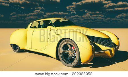 Generic and futuristic model of car 3d rendering