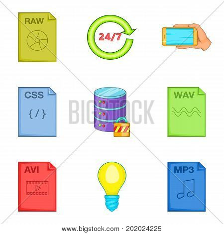 File processing icons set. Cartoon set of 9 file processing vector icons for web isolated on white background