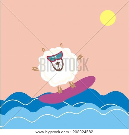 Sheep surfing in the sea. Vector illustration. A fun image for summer holiday