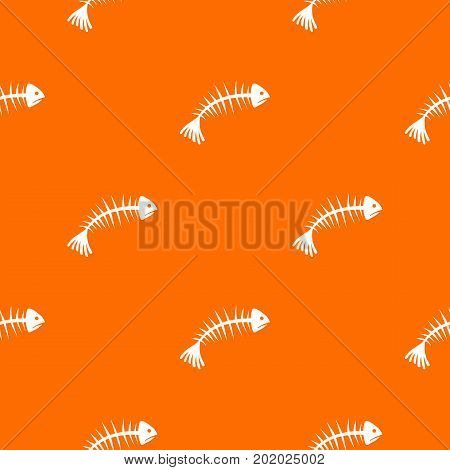 Fish bones pattern repeat seamless in orange color for any design. Vector geometric illustration