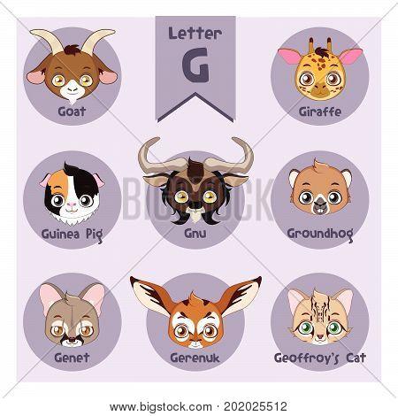 Animal portrait alphabet - With Letter G