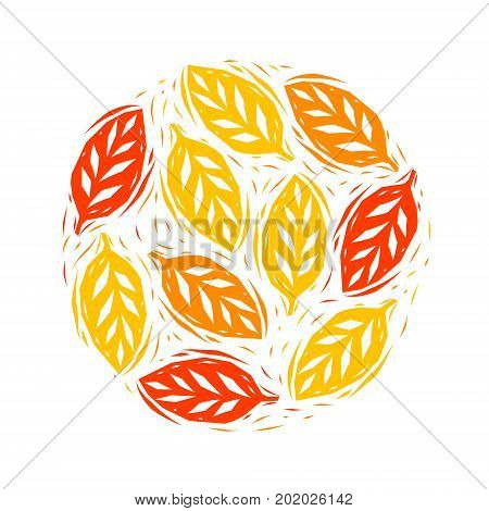 Golden yellow and orange autumn leaves circle composition, vector background