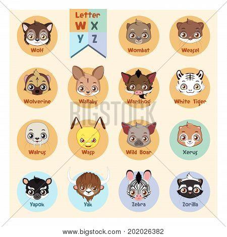 Animal Portrait Alphabet - Letter W, X, Y, Z