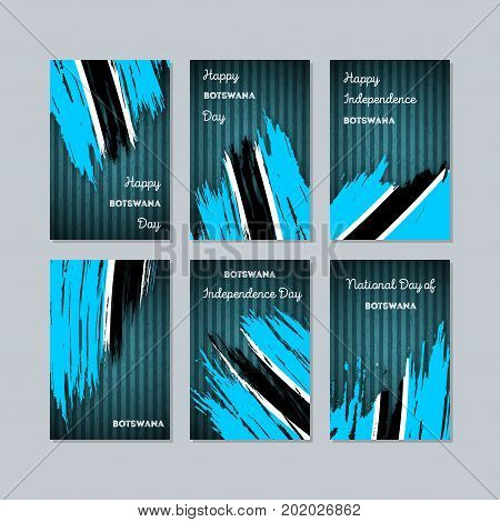 Botswana Patriotic Cards For National Day. Expressive Brush Stroke In National Flag Colors On Dark S