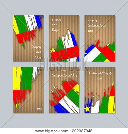 Car Patriotic Cards For National Day. Expressive Brush Stroke In National Flag Colors On Kraft Paper
