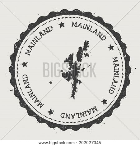 Mainland Sticker. Hipster Round Rubber Stamp With Island Map. Vintage Passport Sign With Circular Te