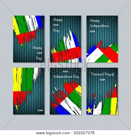 Car Patriotic Cards For National Day. Expressive Brush Stroke In National Flag Colors On Dark Stripe
