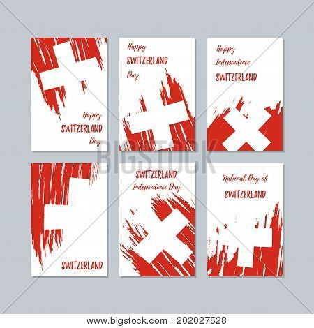 Switzerland Patriotic Cards For National Day. Expressive Brush Stroke In National Flag Colors On Whi