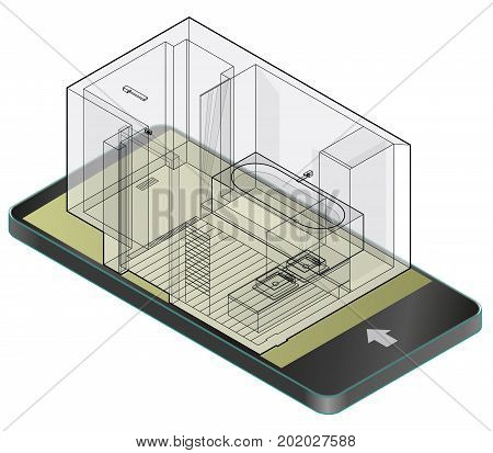 Outlined bathroom with wooden floor in mobile phone. Wire isometric shower enclosure, sliding glass doors in communication technologies. Bathroom sinks with mirror. Vector sanitary washroom equipment.