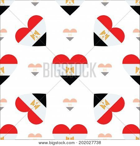 Egypt Flag Heart Seamless Pattern. Patriotic Egypt Flag Background. Country Flag In The Shape Of Hea