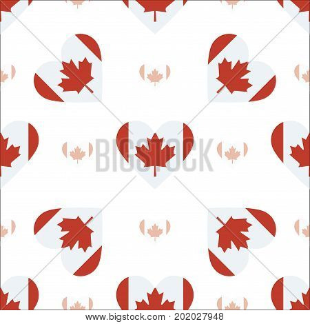 Canada Flag Heart Seamless Pattern. Patriotic Canada Flag Background. Country Flag In The Shape Of H