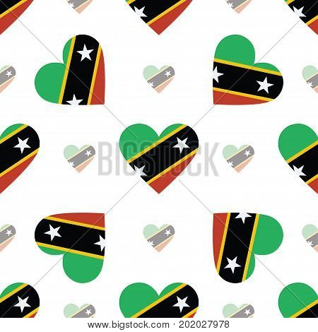 Saint Kitts And Nevis Flag Patriotic Seamless Pattern. National Flag In The Shape Of Heart. Vector I