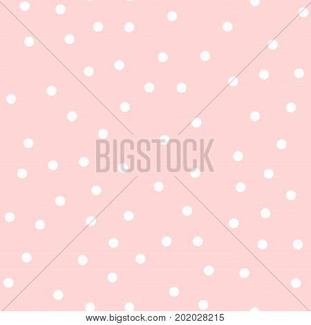 White Polka Dots Seamless Pattern On Pink Background. Memorable Classic White Polka Dots Textile Pat