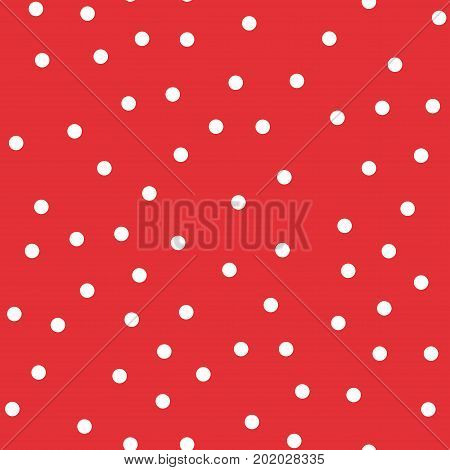 White Polka Dots Seamless Pattern On Red Background. Unique Classic White Polka Dots Textile Pattern