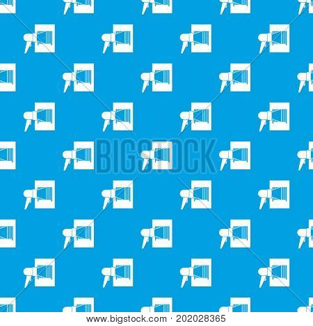 Bar code on cargo pattern repeat seamless in blue color for any design. Vector geometric illustration