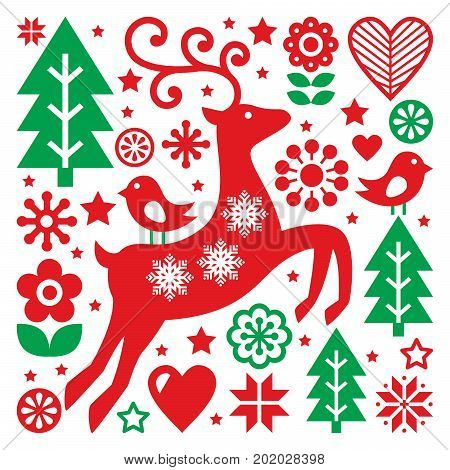 Christmas red and green pattern, Scandinavian folk art, reindeer, birds and flowers decoration or greetings card