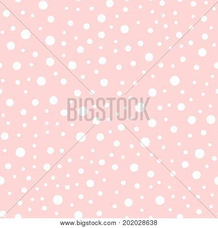 White Polka Dots Seamless Pattern On Pink Background. Surprising Classic White Polka Dots Textile Pa
