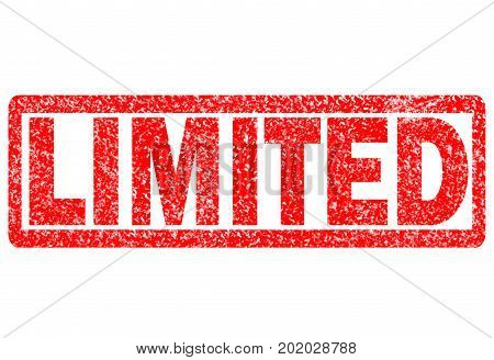 limited red rubber stamp on white background. limited sign.