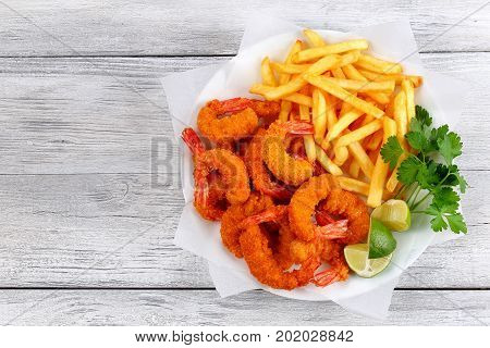 Breaded Fried Shrimps With French Fries