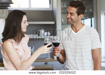 Happy couple toasting with wine in kitchen
