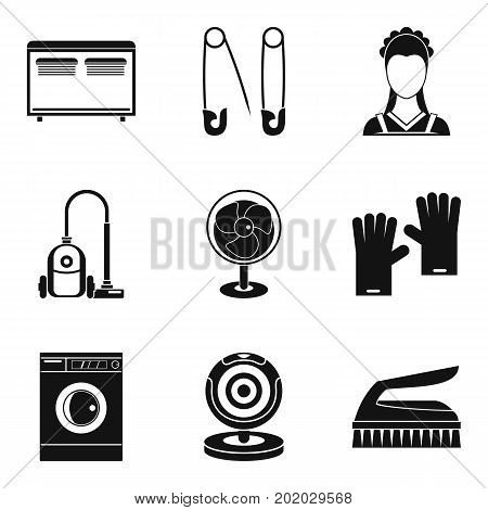 Appliance icons set. Simple set of 9 appliance vector icons for web isolated on white background