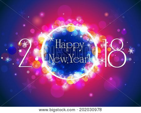 Happy New Year 2018 glittering defocused bokeh winter background vector illustration with well organized layers