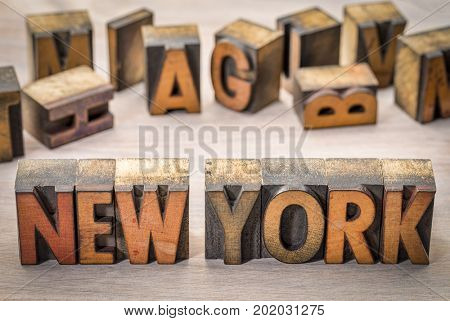 New York word abstract in vintage letterpress wood type printing blocks
