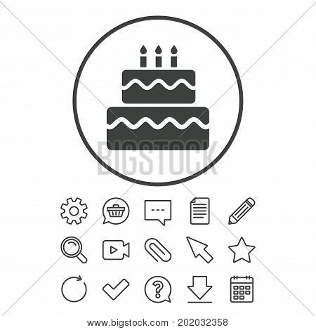 Birthday cake sign icon. Cake with burning candles symbol. Document, Chat and Paper clip line signs. Question, Pencil and Calendar line icons. Star, Download and Shopping cart. Vector