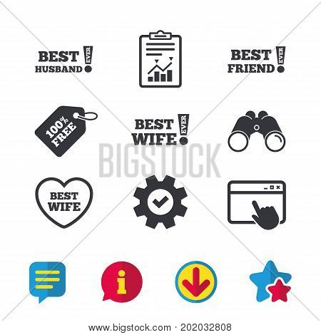 Best wife, husband and friend icons. Heart love signs. Awards with exclamation symbol. Browser window, Report and Service signs. Binoculars, Information and Download icons. Stars and Chat. Vector