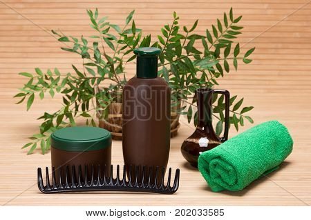 Natural hair care cosmetic products. Shampoo, hair mask, comb and towel with green plant branches
