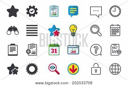 Star favorite and menu list icons. Checklist and cogwheel gear sign symbols. Chat, Report and Calendar signs. Stars, Statistics and Download icons. Question, Clock and Globe. Vector