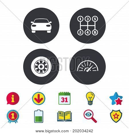 Transport icons. Car tachometer and mechanic transmission symbols. Wheel sign. Calendar, Information and Download signs. Stars, Award and Book icons. Light bulb, Shield and Search. Vector