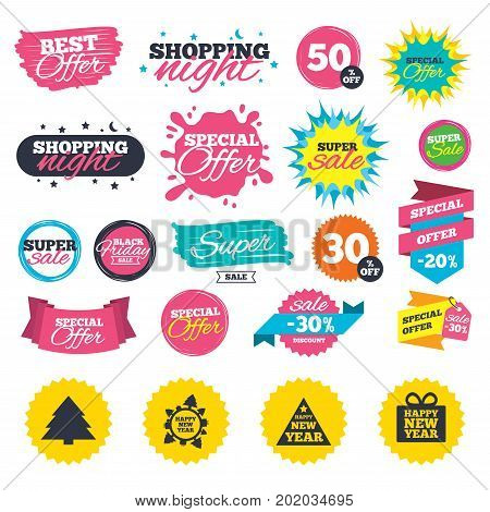 Sale shopping banners. Happy new year icon. Christmas trees signs. World globe symbol. Web badges, splash and stickers. Best offer. Vector