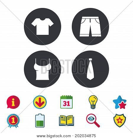 Clothes icons. T-shirt and bermuda shorts signs. Business tie symbol. Calendar, Information and Download signs. Stars, Award and Book icons. Light bulb, Shield and Search. Vector