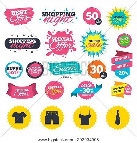Sale shopping banners. Clothes icons. T-shirt and bermuda shorts signs. Business tie symbol. Web badges, splash and stickers. Best offer. Vector