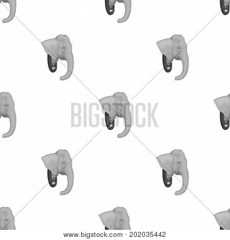 Stuffed elephant head.African safari single icon in monochrome style vector symbol stock illustration .