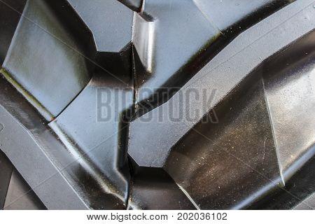 Big Rubber Tractor Black Tire, Close Up Photo