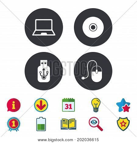 Notebook pc and Usb flash drive stick icons. Computer mouse and CD or DVD sign symbols. Calendar, Information and Download signs. Stars, Award and Book icons. Light bulb, Shield and Search. Vector