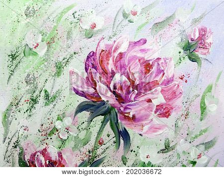 Hand painted modern style Pink peonies flowers. Spring flower seasonal nature background. Oil painting floral texture