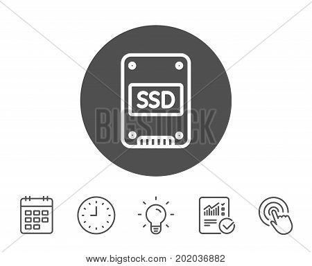 SSD icon. Solid-state drive sign. Storage disk symbol. Report, Clock and Calendar line signs. Light bulb and Click icons. Editable stroke. Vector