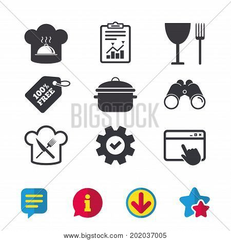 Chief hat and cooking pan icons. Crosswise fork and knife signs. Boil or stew food symbols. Browser window, Report and Service signs. Binoculars, Information and Download icons. Stars and Chat. Vector