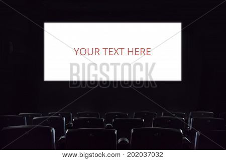 Empty Screen. Empty Cinema Screen At The Movie Theatre